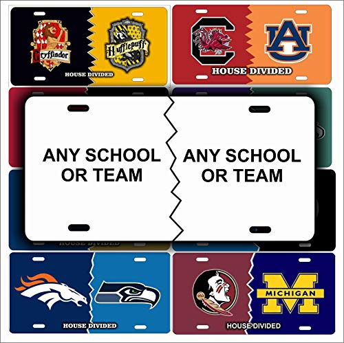 (ATD House Divided Personalized Novelty License Plate Any Sports Team or School Custom Decorative Vanity Car Tag)