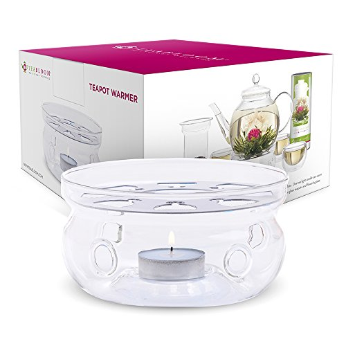 Teabloom Teapot Warmer (Universal Size) - Handcrafted with Heat Proof Borosilicate Clear Glass - Tea Light Candle Included