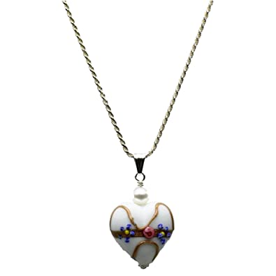 White Murano-style Glass Heart Pendant Sterling Silver Diamond-Cut Rope Chain Necklace