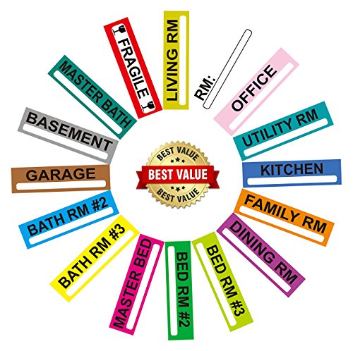 Large Home Moving Labels Set | 200 Color Coded Room 5-Bedroom Box Stickers With Custom Fragile Stickers | 1.2