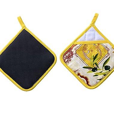 VAPSINT® 100% Cotton Microwave Cupcake Kitchen Towels Oven Mitt Print Potholder,Yellow Sunflower Pattern Designer Hand Holder Pot Holder