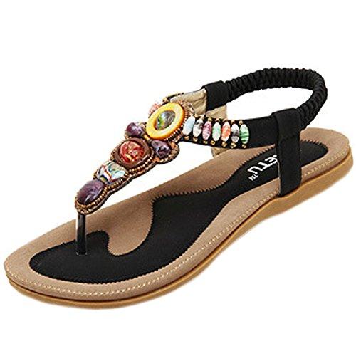 Oasap Mujer Thong Sandals Sandalias Bohemia Adorno de Rhinestone Negro