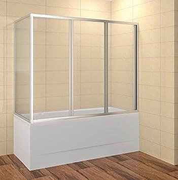 Mampara de bañera 170 cm – Mampara 170 x 135 cm (LXH) cabinas de ducha bañera 3 piezas ESG 4 mm Elox: Amazon.es: Bricolaje y herramientas