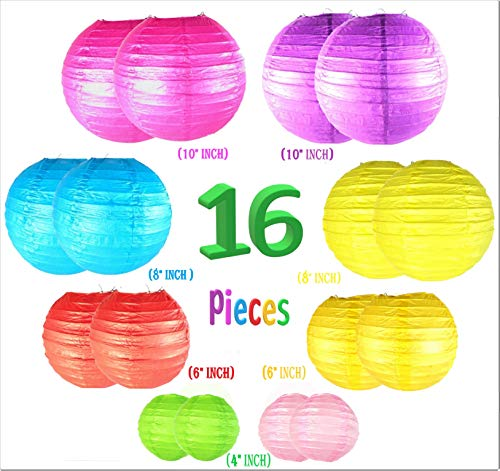 GREENPEAS Colorful Paper Lanterns Decorative, 16 Pieces (Multicolor) of Japanese/Chinese Paper Lanterns, Hanging Lantern for Parties, Weddings, Special Occasions (Sizes: 4', 6', 8', 10')