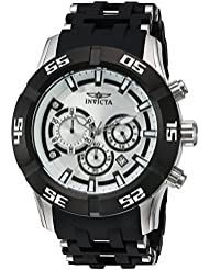 Invicta Mens Sea Spider Quartz Stainless Steel and Polyurethane Watch, Color:Black (Model: 21818)