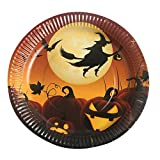 YJYdada 10Pcs Halloween Paper Plates Disposable Paper Dishes Halloween Party Supplies (A)