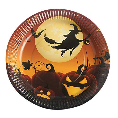 YJYdada 10Pcs Halloween Paper Plates Disposable Paper Dishes Halloween Party Supplies (A) ()