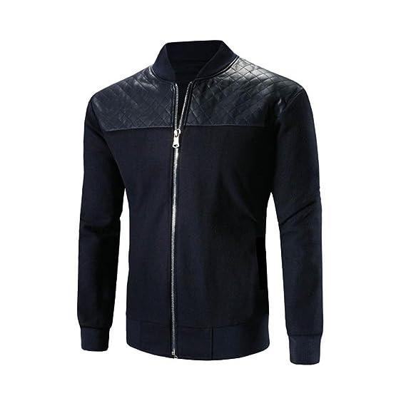 Hombres Otoño Invierno Chaqueta DoraMe Stand Neck Patchwork Jacket Zipper Outwear abrigo cálido Coat (Armada