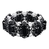 BriLove Antique-Silver-Tone Bracelet Simulated Pearl Crystal Victorian Style Multi Floral Cameo Inspired Oval Stretch Bracelet for Women Black