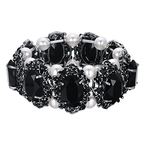 (BriLove Victorian Style Stretch Bracelet for Women Crystal Simulated Pearl Multi Floral Cameo Inspired Oval Bracelet Black Antique-Silver-Tone)