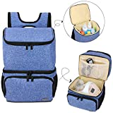 Teamoy Breast Pump Bag Backpack with Cooler Compartment for Breast Pump, Cooler Bag, Breast Milk Bottles and More, Double Layer Pumping Bag for Working Moms, Blue(Bag Only)
