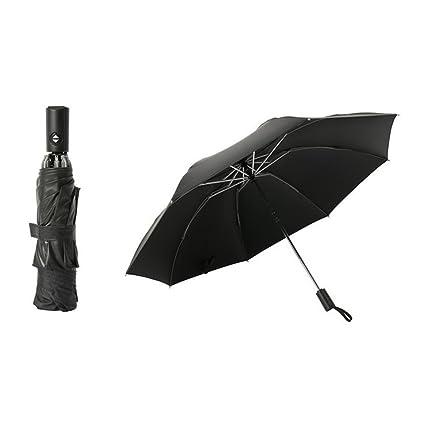 Paraguas automático Plegable, portátil, Totalmente automático, 3 Plegables, Grande, Negro,