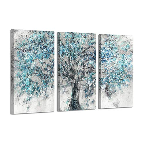 (Abstract Tree Canvas Wall Art: Gold Foil Blooming Tree Artwork Painting Print on Canvas for Living Rooms (26