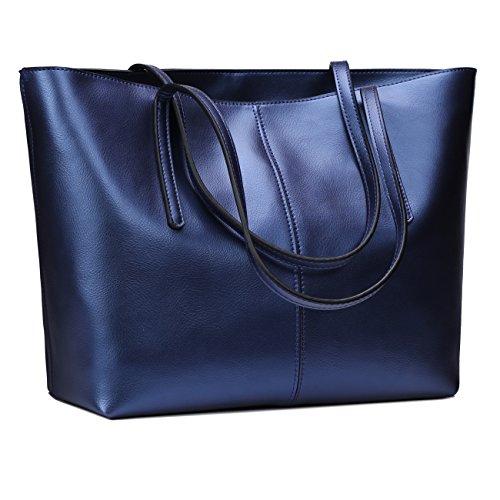 Obosoyo Women's Handbag Genuine Leather Tote Shoulder Bags Soft Hot Blue