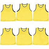 Crown Sporting Goods Scrimmage Pinnies with Mesh Storage Bag, 6 Pack, Yellow