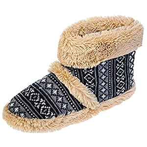 Dunlop Men's Navy Fairisle Pattern Boot Slippers