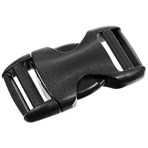 10 Pack Buckles - 1 Inch Flat Heavy Duty Dual Adjustable Side Release Buckles - Black Plastic for Repairs, Webbing, Bags, and Backpacks ()
