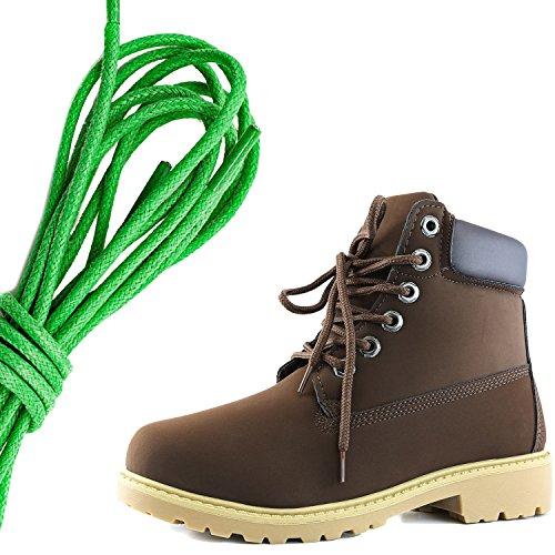 Dailyshoes Da Donna Con Allacciatura Alla Caviglia, Collo Alto Imbottito Da Combattimento, Punta Marrone Verde Marrone