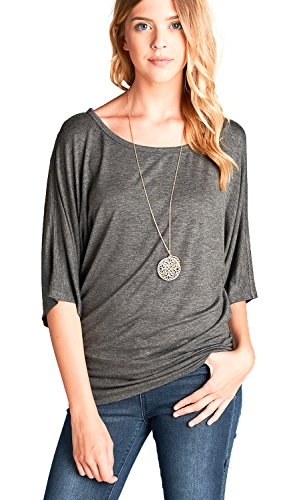 Califul Dolman Sleeve Round Neck Wide Waist Band Jersey Tunics Top (Medium, TN02 Charcoal (Wide Cowl)