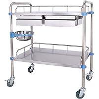 Carro médico de acero inoxidable con cajones, carros de tratamiento móviles, ensamblar las carretillas manuales…