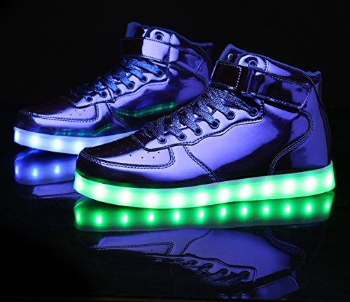 Sneakers Top Flashing Shining USB MOHEM ShinyNight High Light Blue LED Shoes Up Charging qxFTvwEFR
