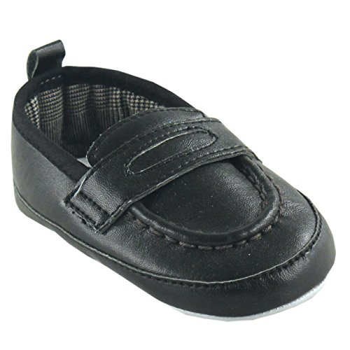 Luvable Friends Boy's Slip-on Shoe (Infant), Black, 6-12 Months M US -