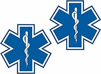 """2-3/"""" Tactical RED Star of Life Blue Decal EMS EMT Paramedic Sticker Decal"""