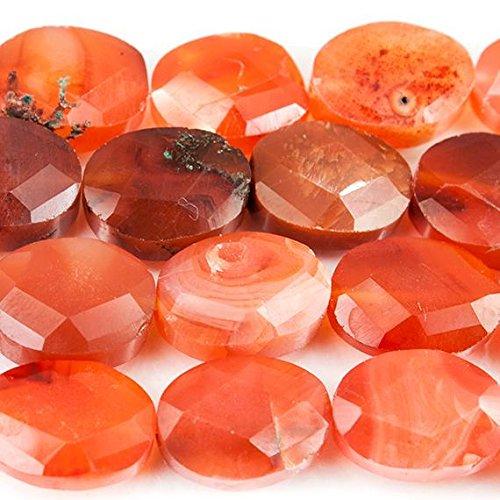 Carnelian Oval Beads - Dark Carnelian Orange Agate Faceted Oval Beads 16 inch 29 pieces