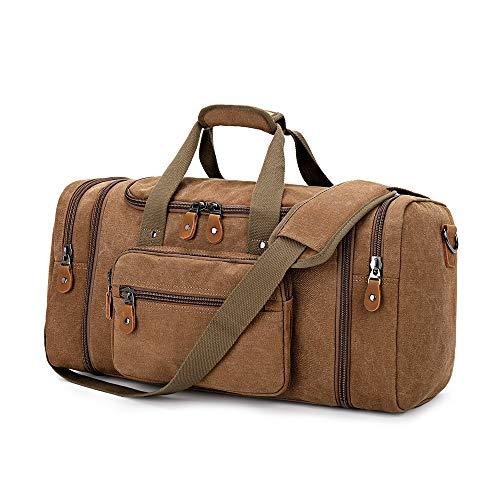 Plambag Canvas Duffle Bag for Travel, 50L Duffel Overnight Weekend Bag