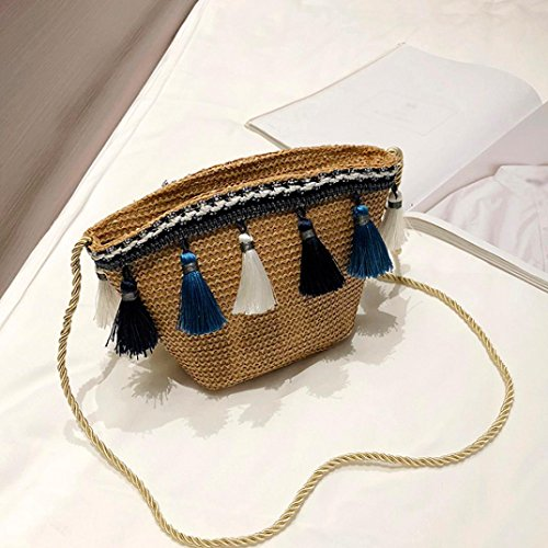 Summer Messenger with Bag Women's Crochet Purse Bags Shybuy Shoulder Straw Tassel Beach Corssbody Brown xaSwWI8q