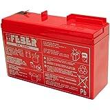 FEBER Battery 6V 12Ah - Batería/Pila recargable (12000 mAh, 6 V, Toy, Rojo) , color: Red