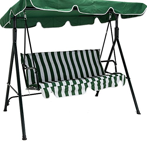 [New Green Outdoor 3 Seats Patio Canopy Swing Glider Hammock Backyard Porch Furniture great addition to your backyard] (Back Porch Glider Bench)