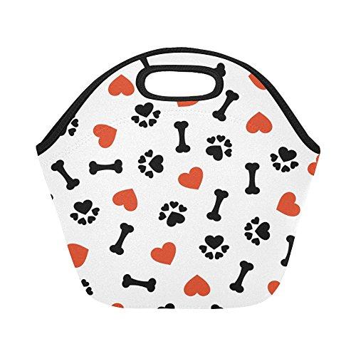 Lunch Bone Box (InterestPrint Dog Paw Print Bone Reusable Insulated Neoprene Lunch Tote Bag Cooler, Red Heart Portable Lunchbox Handbag for Men Women Adult Kids)