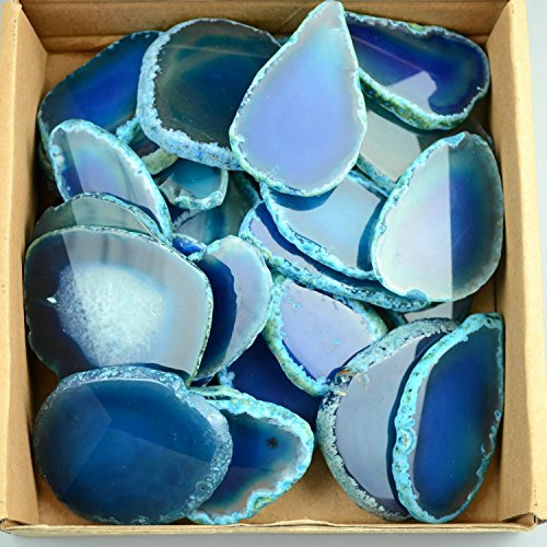 30 pieces Agate Slices Stone Slab 2''-3'' in length for Wedding Name Cards Namecards Place Cards - Blue by FHNP367