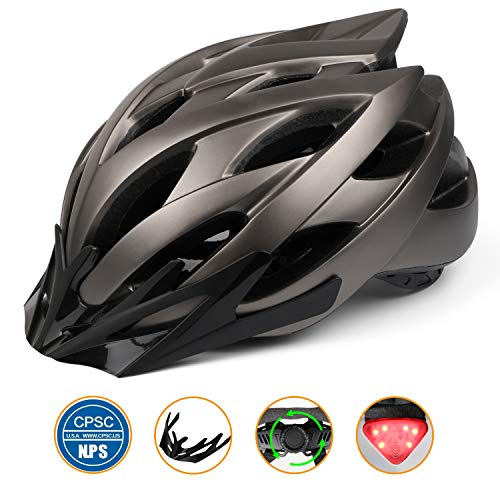 Bike Helmet,Basecamp Cycling Helmet-CPSC Safety Standard/LED Safety Light/Removable Visor/Flow Vents-Safety and Adjustable for Adult Men/Women/Youth Mountain&Road