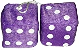 "Cool & Custom {3"" Inch w/ String} Single Pair of ""Fuzzy, Furry & Fluffy Plush Dice"" Rear View Mirror Hanging Ornament Decoration w/ Classic Vintage Retro Design [BMW Purple and White Color]"