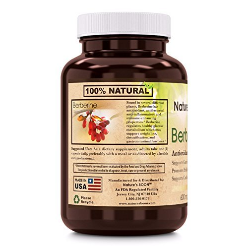 Nature's Boon Berberine 600 Mg 60 Veggie Caps - Glass Bottle - Supports Immune System - Supports Glucose Metabolism - Aid in Healthy Weight Management - Non GMO, Vegan, Glutan Free.