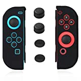 Cheap Joycon Cover Protector Gel Guard Switch Skin Anti-Slip Lightweight Joy-con Skin Pair with Four Thumb Stick Caps Cover Black -Jamont