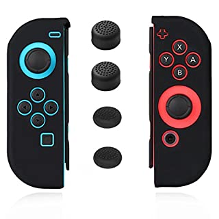 Joycon Cover Protector Joy Cons Grip Gel Guard Switch Joy Cons Controllers Silicone Skin Anti-Slip Joy-Con Skin Joycons Case with 4 Analog Thumb Caps Joystick Thumbstick Button Stick Black Jamont