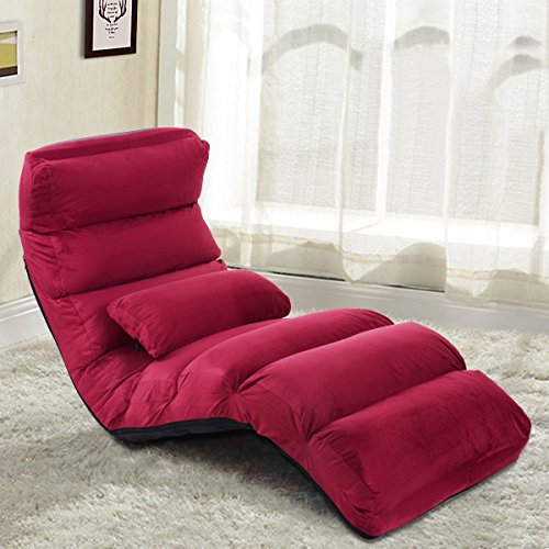Foldable Lazy Sofa Chair Stylish Couch Bed Lounge Chair Pillow Burgundy New by Allblessings (Image #1)