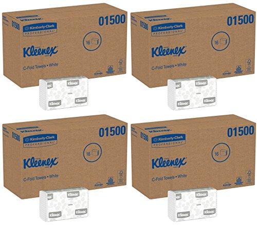 Kleenex C Fold Paper Towels (01500), Absorbent, White, 16 Packs (4 Cases), 150 C-Fold Towels / Pack, 2,400 Towels / Case