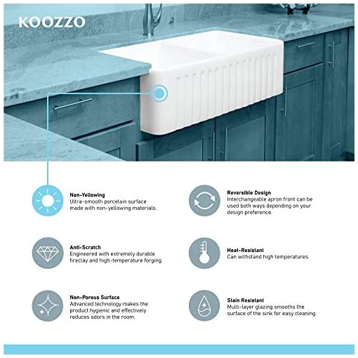 Farmhouse Kitchen Koozzo 30-Inch Farmhouse Ceramic Kitchen Sink, Reversible Single Bowl Farm Sink with Strainer, MJ-3018 farmhouse kitchen sinks