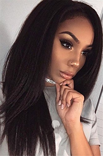 Search : Vedar Beauty Synthetic Hair Glueless Lace Front Wig Light Yaki Straight Hair Wigs with Baby Hair For African Americans Black Wig 22 inch