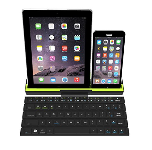 Sky Hiker Portable Foldable Bluetooth keyboard, 3 Channel Multi-device Universal Bluetooth Keyboard with Integrated Stand for for Windows Android iOS PC Tablet Smartphone iPhone X 8 by Sky Hiker