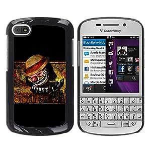 Caucho caso de Shell duro de la cubierta de accesorios de protección BY RAYDREAMMM - BlackBerry Q10 - Clown Scary Creepy Art Drawing Hat Nose