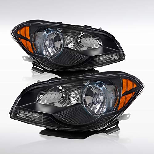 Autozensation For Chevy Malibu Euro Black Clear Lens Crystal Headlights Pair