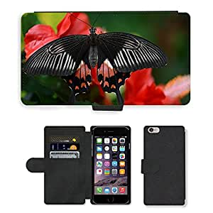 """Hot Style Cell Phone Card Slot PU Leather Wallet Case // M00114878 Butterfly Black Red White Insect // Apple iPhone 6 PLUS 5.5"""""""