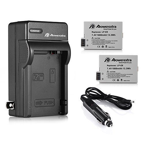 Powerextra-2-Pack-Replacement-Canon-LP-E8-1800mAh-Li-ion-Battery-With-Charger-for-Canon-Rebel-T3i-T2i-T4i-T5i-EOS-600D-550D-650D-700D-Kiss-X5-X4-Kiss-X6-LC-E8E