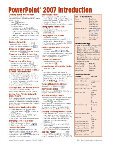 Powerpoint Quick Reference Card (Microsoft PowerPoint 2007 Introduction Quick Reference Guide (Cheat Sheet of Instructions, Tips & Shortcuts - Laminated Card))