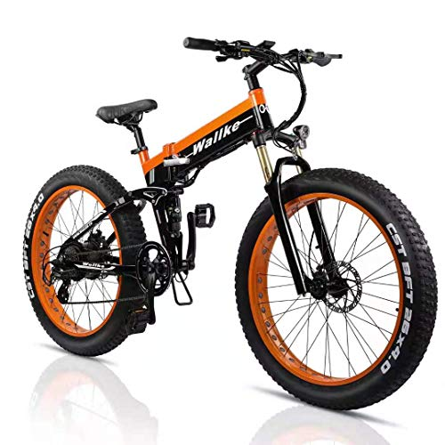 Best Fat tire- Best Off road Electric Bike -W Wallke Folding Electric Bicycle 48V 14ah Detachable Battery 26 inch Fat Tire Snow Mountain ebike 750W Beach Cruiser Adult Auxiliary E-Bike Double Disc Brake Hydraulic Brake 8-Speed (Orange)